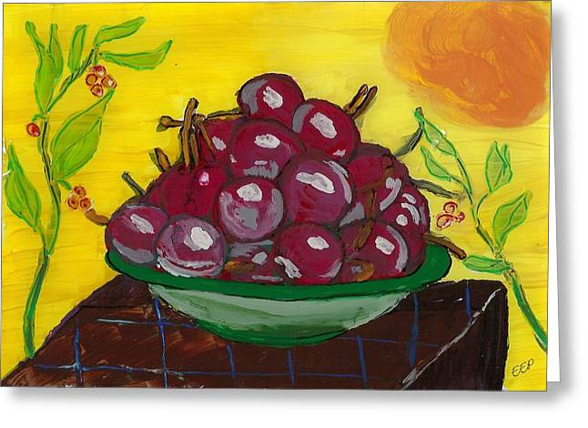 Reverse Glass Greeting Cards - Cherry Bowl Greeting Card by Enrico Pischiera