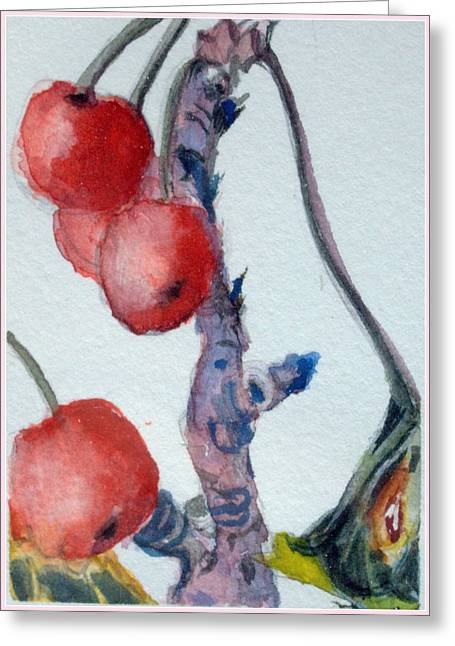 Cherry Branch Greeting Card by Mindy Newman