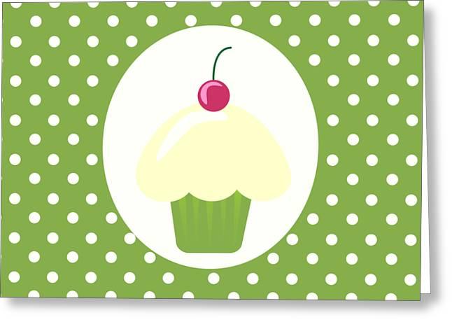 Cherry Cupcake  Greeting Card by Kourai