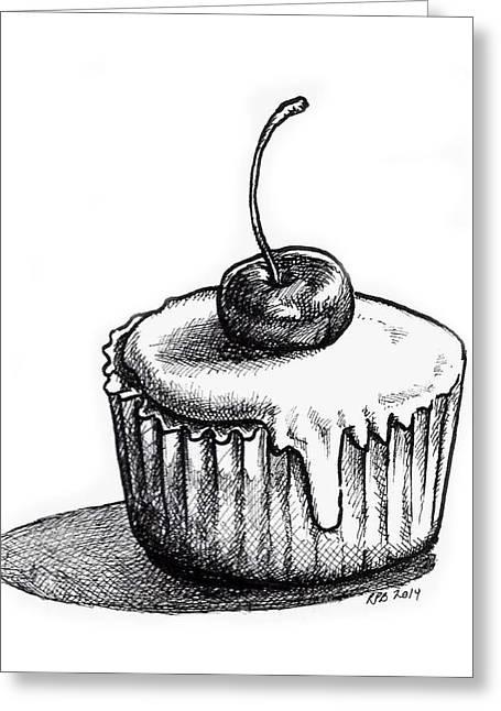 Cherry Cupcake Greeting Card by Rebecca Barnes
