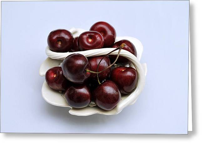 Cherry Dish Greeting Card by Terence Davis