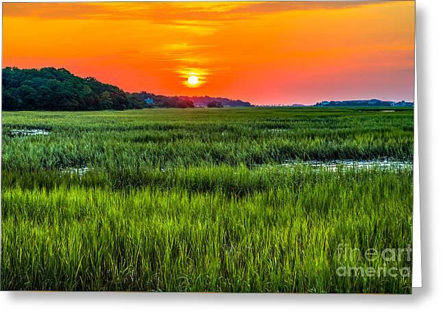 Cherry Grove Marsh Sunrise Greeting Card
