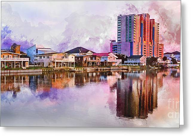 Cherry Grove Skyline - Digital Watercolor Greeting Card