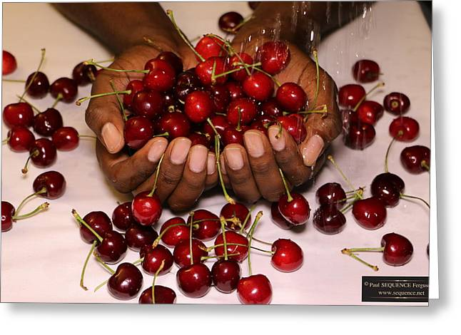 Cherry In The Hands Greeting Card by Paul SEQUENCE Ferguson             sequence dot net