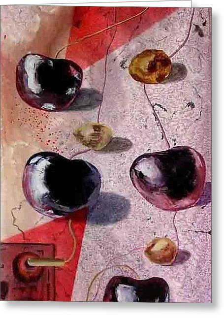 Cherry Music Greeting Card by Evguenia Men