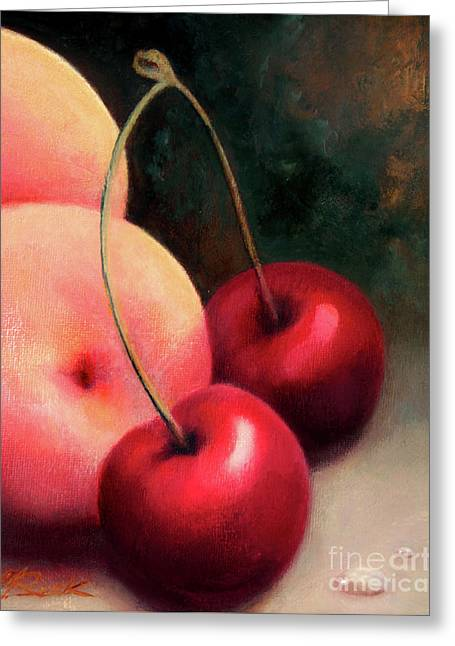 Cherry Peach Greeting Card