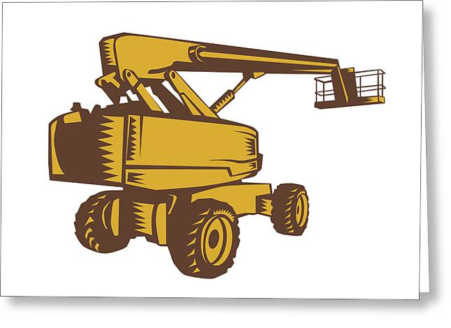 Cherry Picker Mobile Lift Platform Woodcut Greeting Card