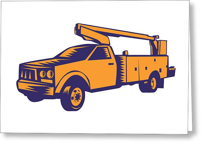 Cherry Picker Mobile Lift Truck Woodcut Greeting Card by Aloysius Patrimonio