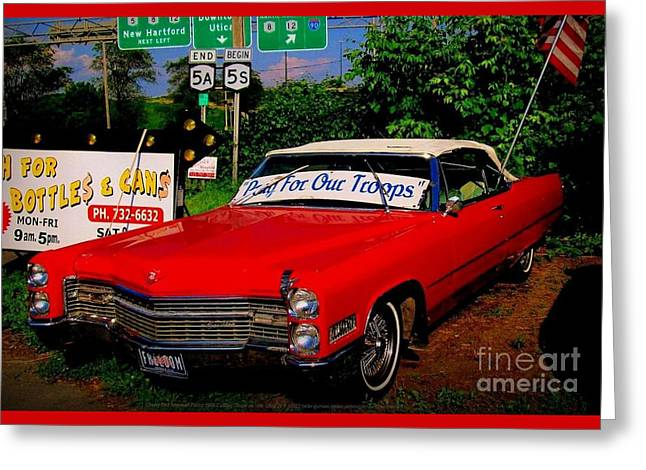 Cherry Red American Patriot 1966 Cadillac Coupe De Ville Greeting Card by Peter Gumaer Ogden