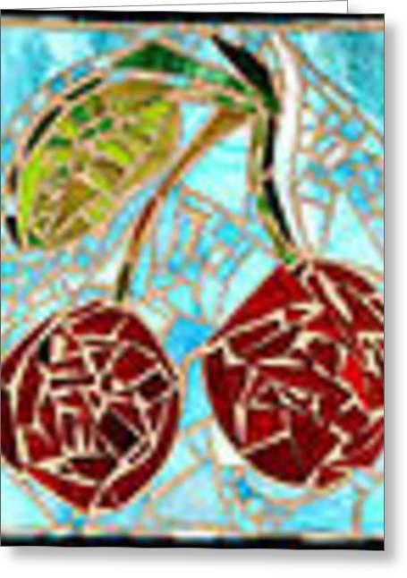 Skylines Glass Art Greeting Cards - Cherry Sky Greeting Card by Diane Morizio
