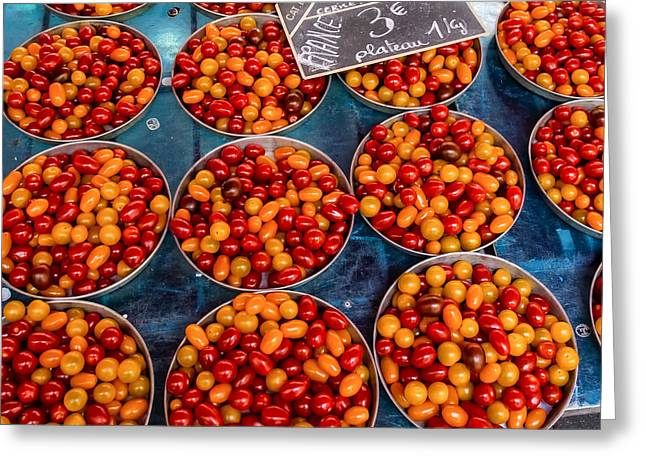Cherry Tomatoes In Lyon Market Greeting Card