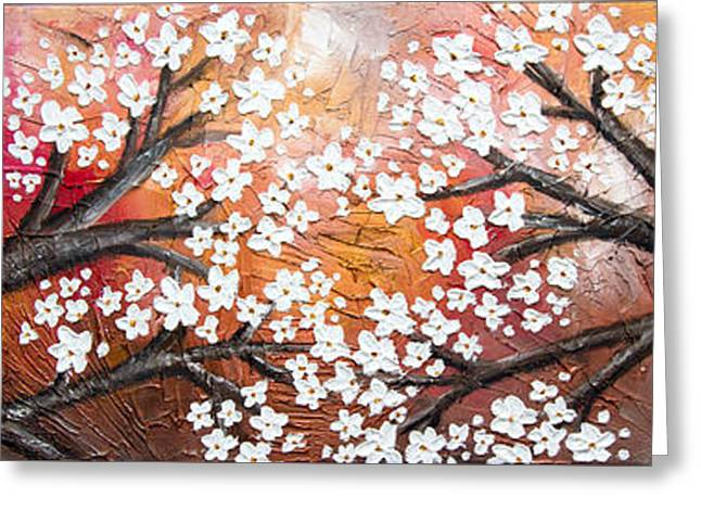 Cherry Tree In Red Greeting Card