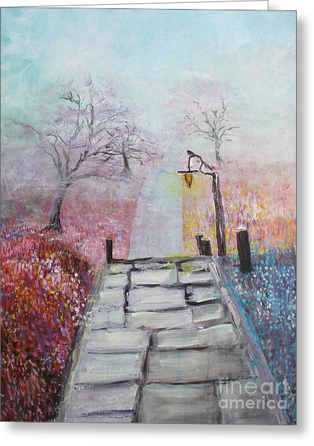 Greeting Card featuring the painting Cherry Trees In Fog by Donna Dixon