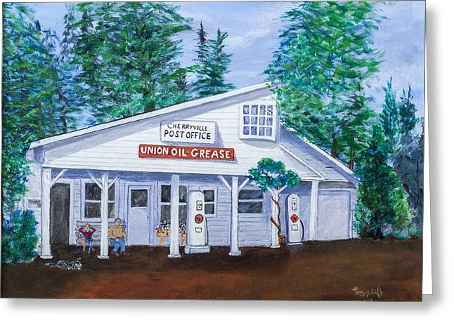 Cherryville Post Office Greeting Card by Lea Topliff