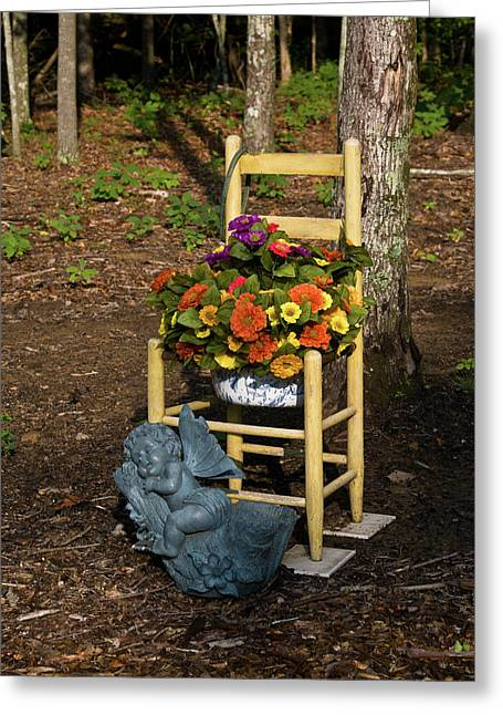 Seraphim Angel Photographs Greeting Cards - Cherub and Chair Greeting Card by Douglas Barnett