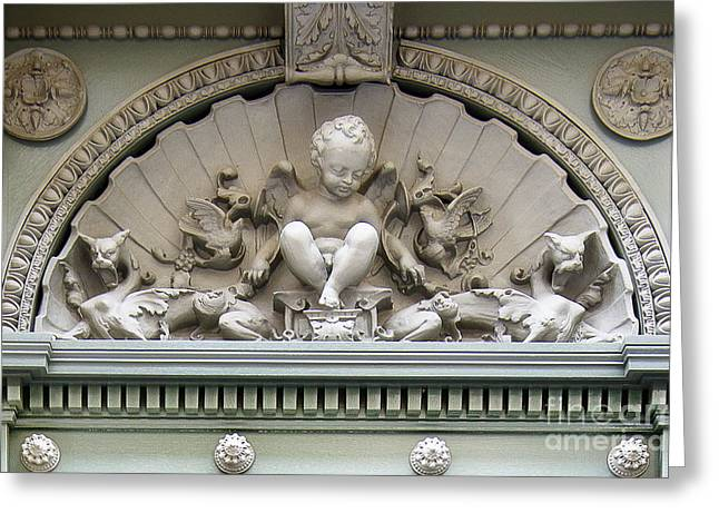 Cherub Paris Door Architecture Greeting Card by Ivy Ho