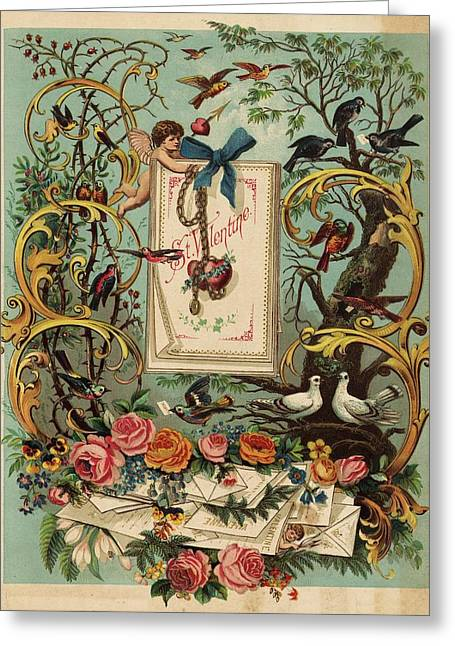 Cherubs, Doves, And Foliage In Outdoor Greeting Card