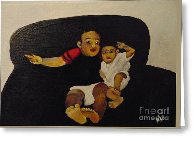 Greeting Card featuring the painting Cherubs by Saundra Johnson
