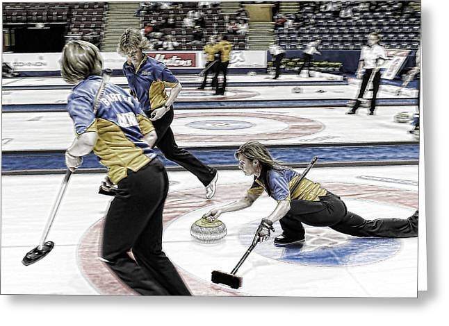 Curling Greeting Cards - Cheryl Bernard Greeting Card by Lawrence Christopher