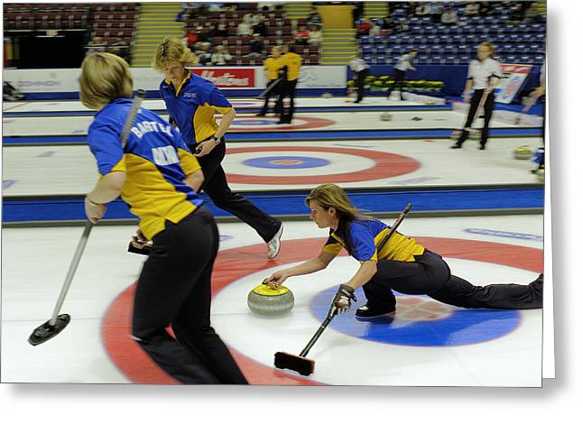 Curling Greeting Cards - Cheryl Bernard Olympian Greeting Card by Lawrence Christopher