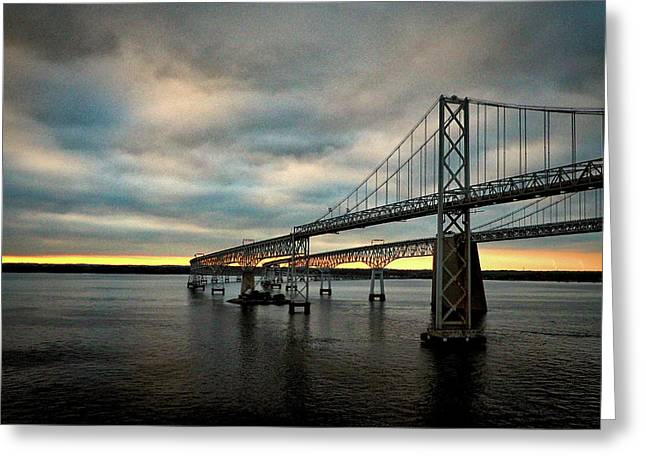 Chesapeake Bay Bridge At Twilight Greeting Card