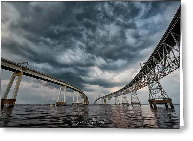 Chesapeake Bay Bridge Storm Greeting Card