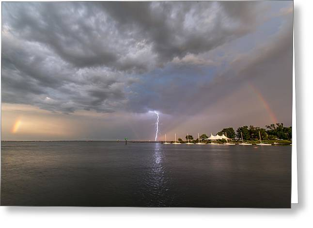 Greeting Card featuring the photograph Chesapeake Bay Rainbow Lighting by Jennifer Casey