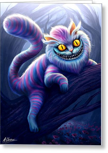 Cheshire Cat Greeting Card by Anthony Christou