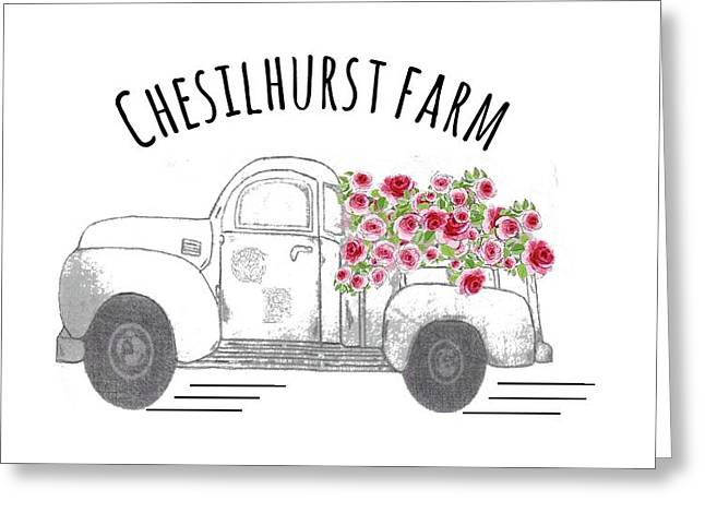 Greeting Card featuring the drawing Chesilhurst Farm by Kim Kent