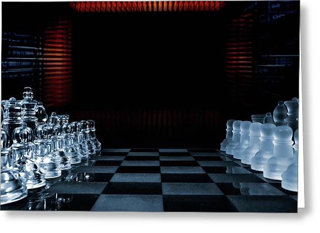 Chess Game Performed By Artificial Intelligence Greeting Card by Christian Lagereek