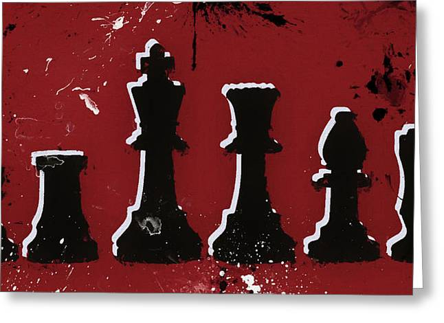 Chess Pieces Paint Splatter Greeting Card