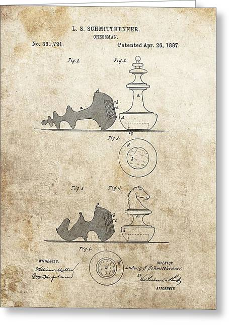 Chess Pieces Patent Greeting Card by Dan Sproul