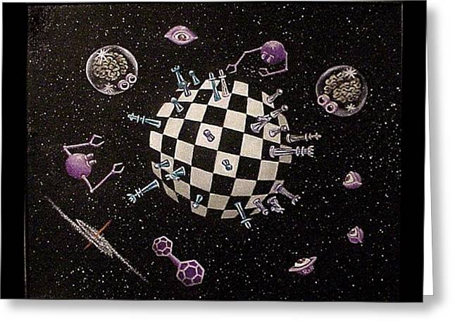 Chess Planet Greeting Card by Hank Roll