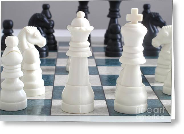 Chess Greeting Card by Valerie Morrison