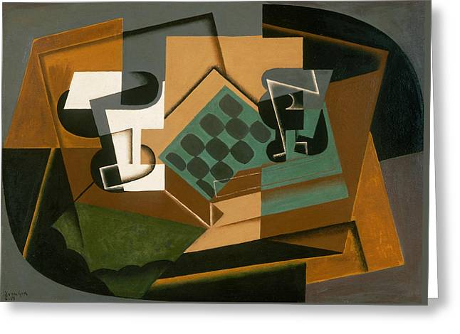Chessboard, Glass, And Dish Greeting Card by Juan Gris
