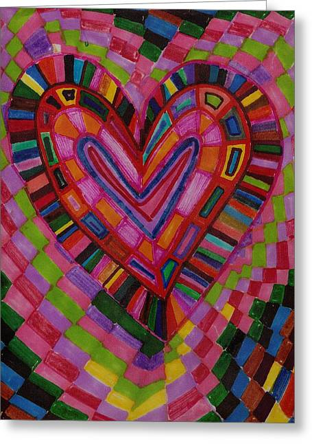 Chessire Heart Greeting Card by Brenda Adams