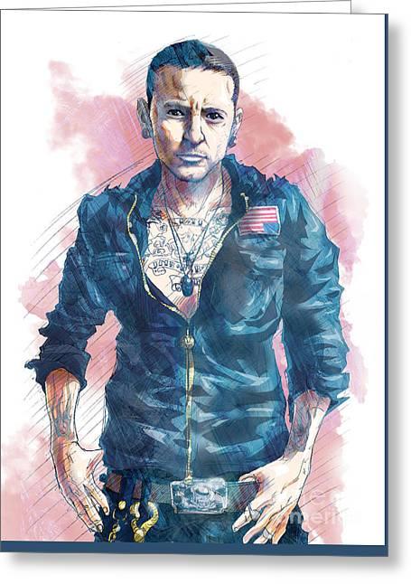 Chester Bennington Of Linkin Park Greeting Card