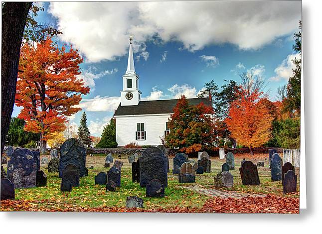 Chester Village Cemetery In Autumn Greeting Card