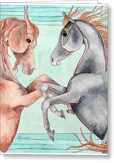 Chestnut And Black Horses On Turquoise Greeting Card by Suzanne Joyner