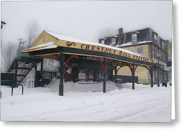 Chestnut Hill Station In Winter Greeting Card
