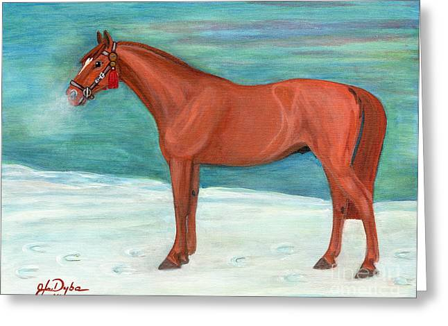 Chestnut Horse Greeting Card by Anna Folkartanna Maciejewska-Dyba