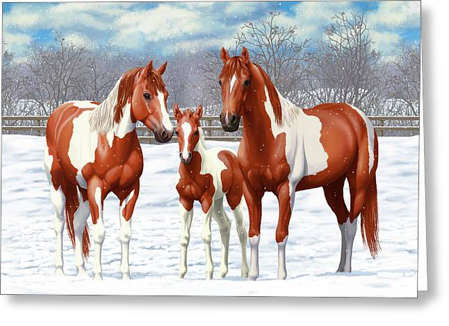 Greeting Card featuring the painting Chestnut Paint Horses In Winter Pasture by Crista Forest