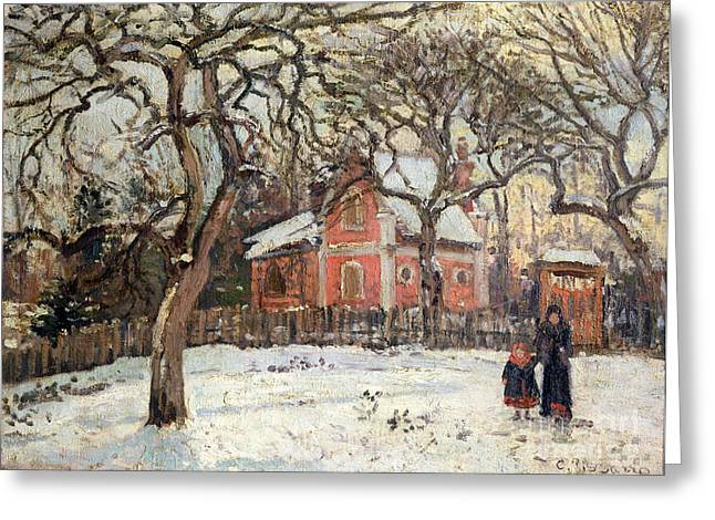 Wintry Greeting Cards - Chestnut Trees at Louveciennes Greeting Card by Camille Pissarro