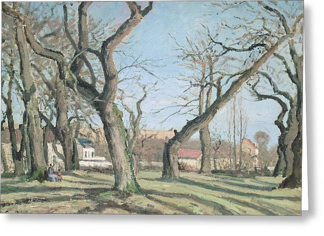 Chestnut Trees At Louveciennes Greeting Card by Camille Pissarro