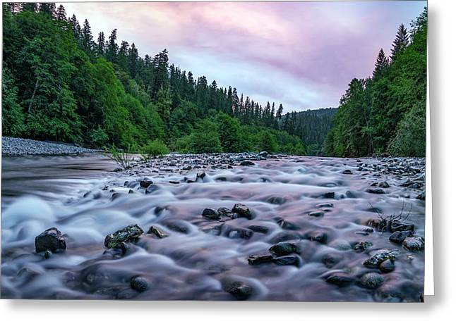 Greeting Card featuring the photograph Chetco River Sunset 2 by Leland D Howard