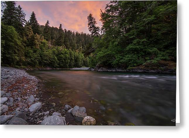 Greeting Card featuring the photograph Chetco River Sunset by Leland D Howard
