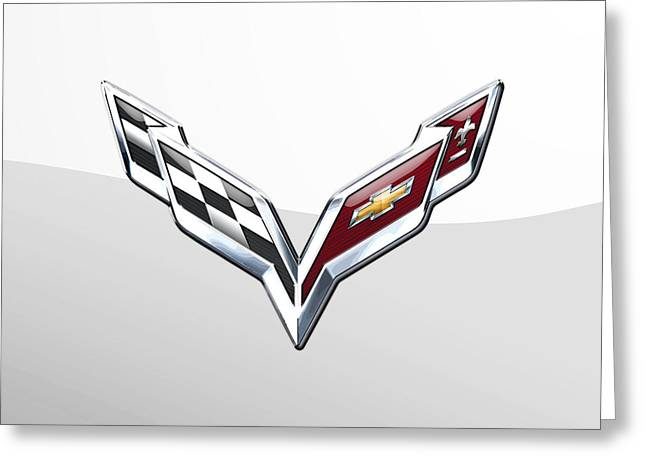 Chevrolet Corvette  3 D  Badge Special Edition On White Greeting Card by Serge Averbukh