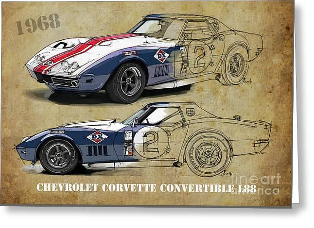 Chevrolet Corvette Convertible L88 1968,original Fast Race Car. Two Drawings, One Print Greeting Card