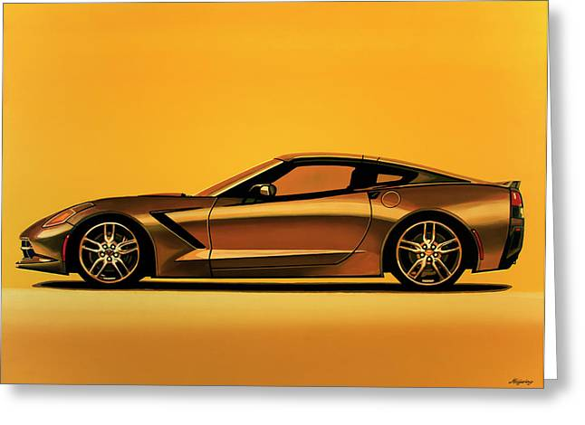 Chevrolet Corvette Stingray 2013 Painting Greeting Card by Paul Meijering