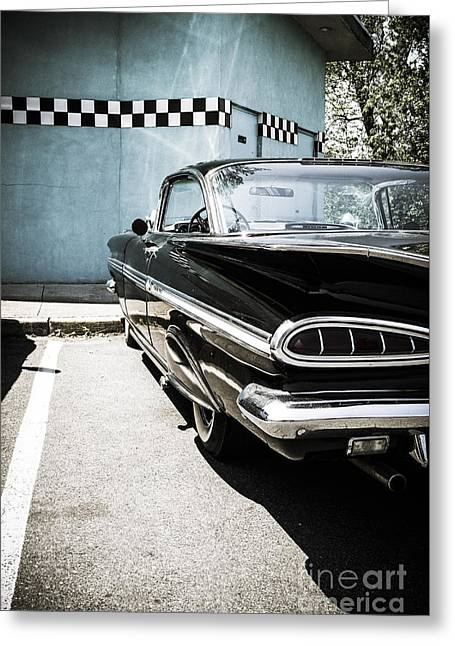 Chevrolet Impala In Front Of American Diner Greeting Card